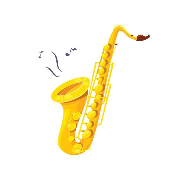 ilustrações de stock, clip art, desenhos animados e ícones de saxophone vector illustration - saxofone