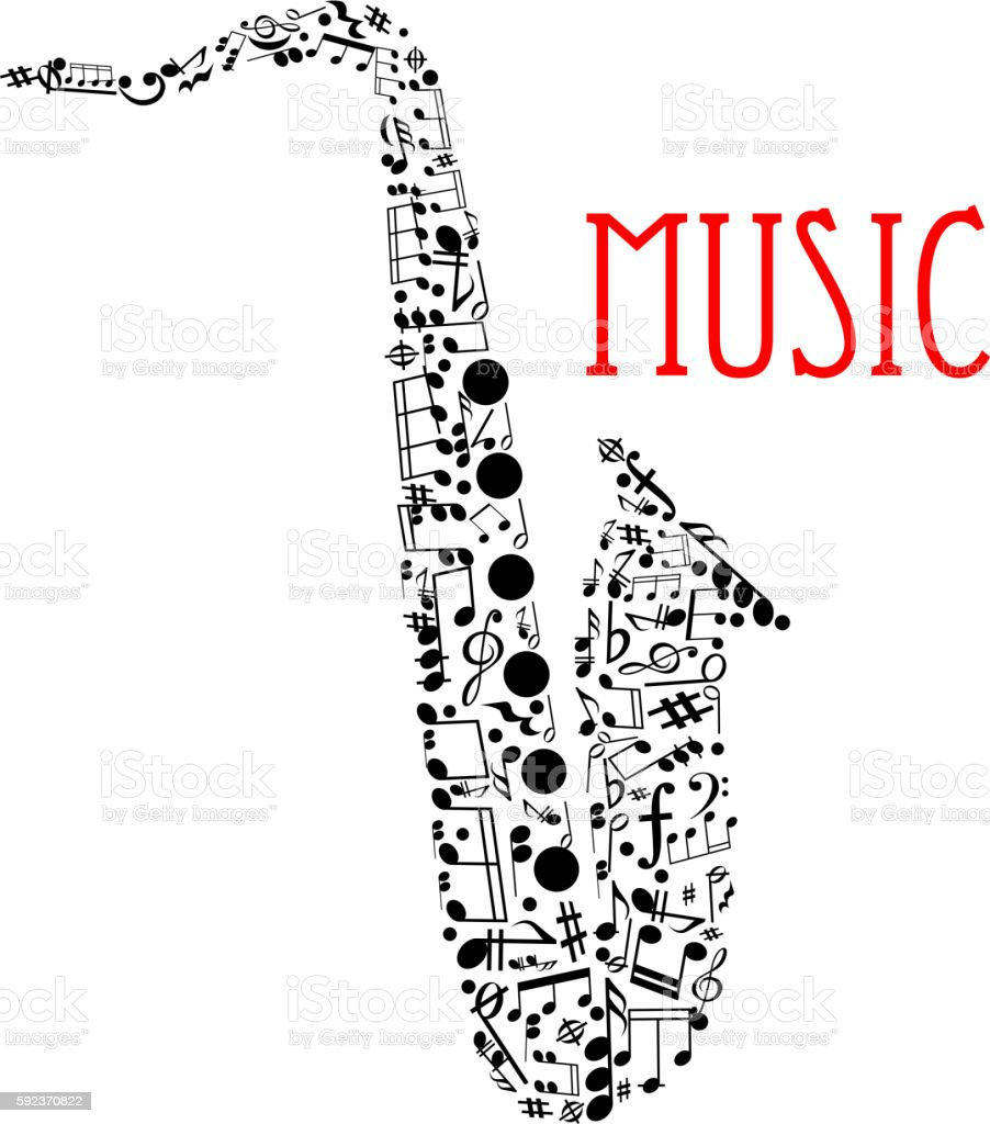 Saxophone with musical notes for music design vector art illustration