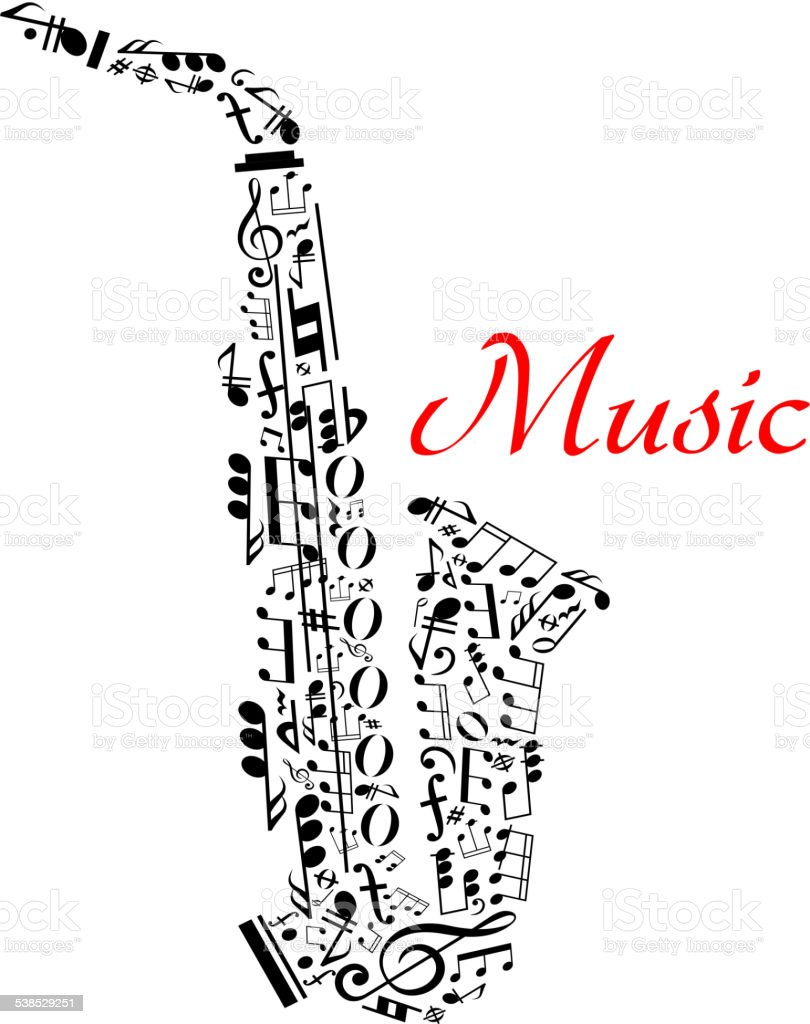 Saxophone with musical notes vector art illustration
