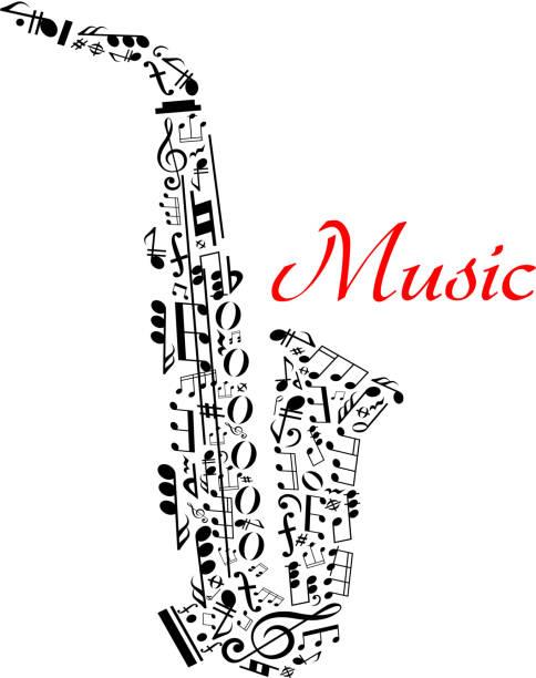 stockillustraties, clipart, cartoons en iconen met saxophone with musical notes - tenor