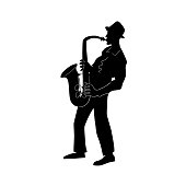Saxophonist. Jazz or blues musician, the man plays a saxophone.  Black and white isolated silhouette with contour. Vector illustration.