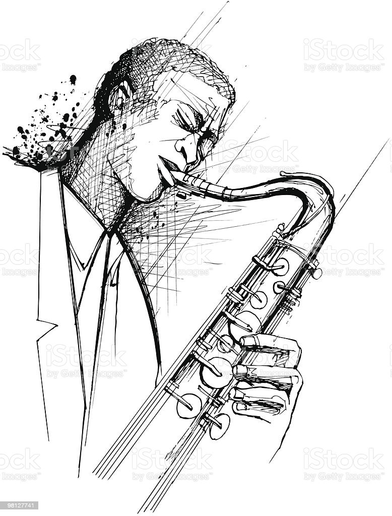 saxophonist on a grunge background royalty-free saxophonist on a grunge background stock vector art & more images of adult