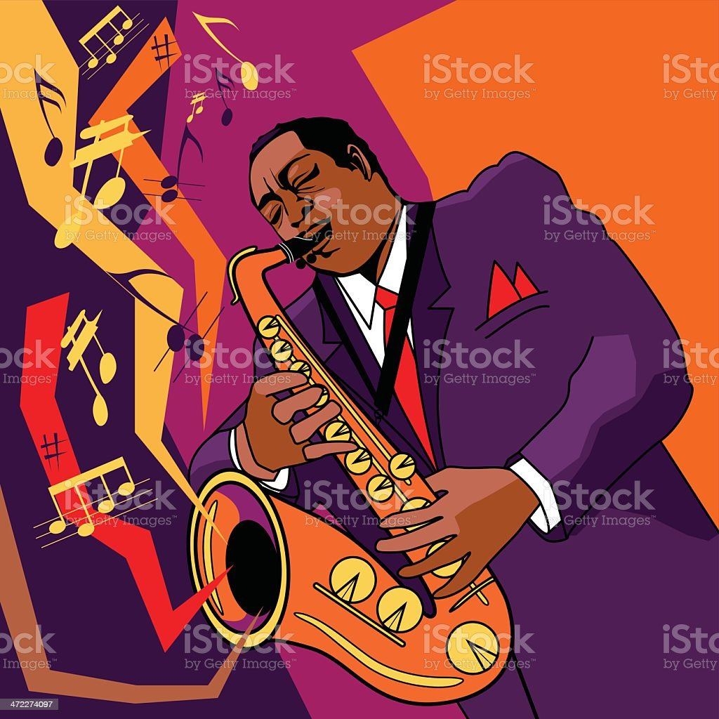 saxophonist on stage royalty-free stock vector art