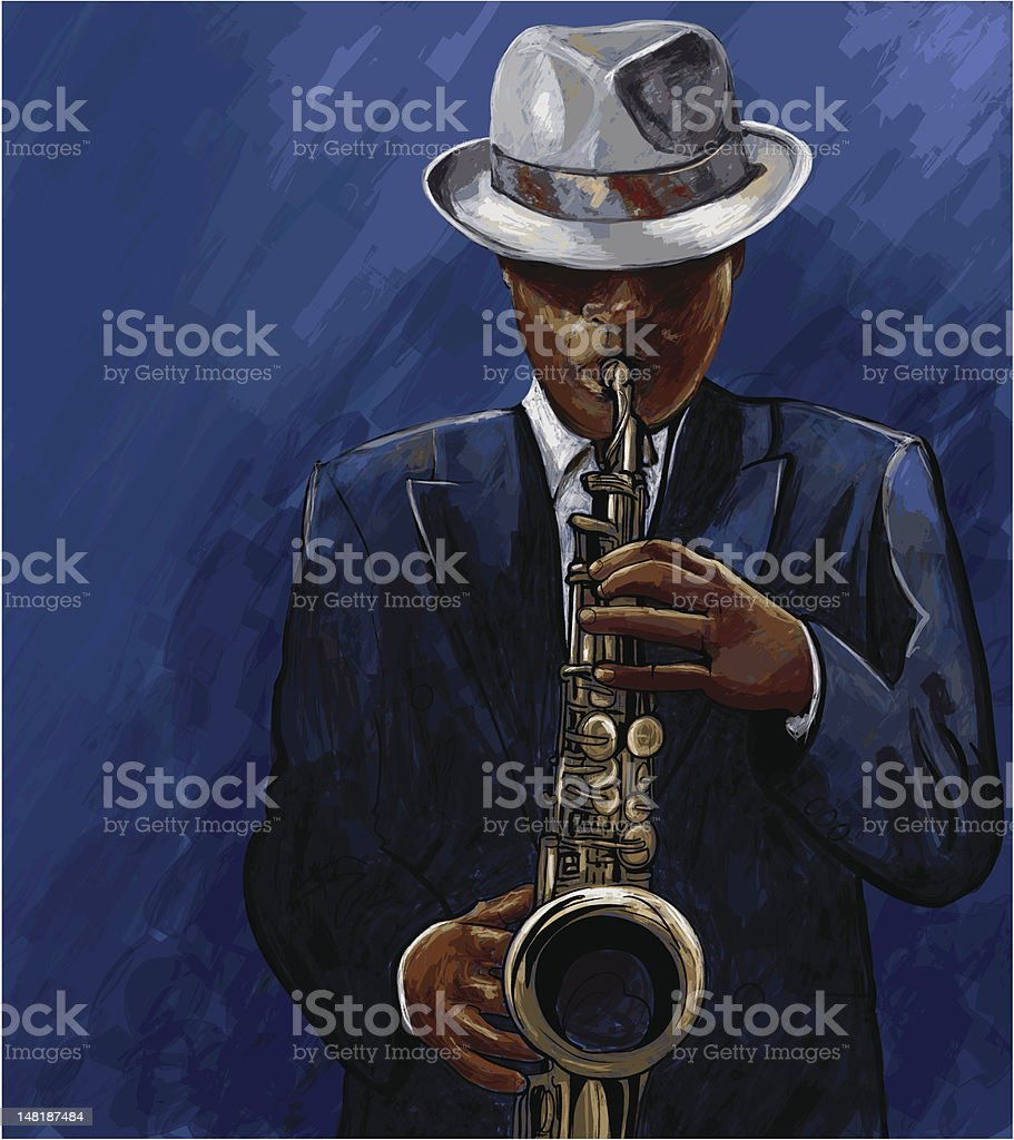 saxophonist playing saxophone on a blue background vektör sanat illüstrasyonu