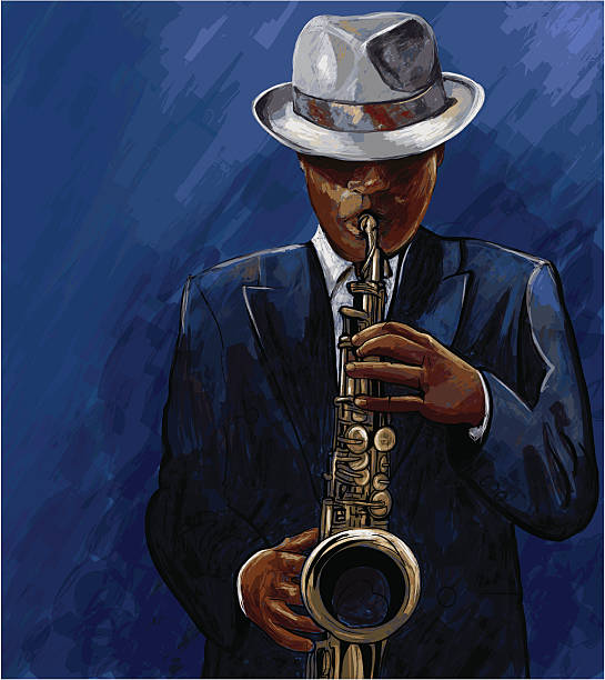 saxophonist playing saxophone on a blue background vector art illustration