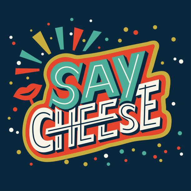 ilustrações de stock, clip art, desenhos animados e ícones de say cheese - hand lettering calligraphy phrase about photo. - queijo