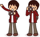 Vector illustration - Say cheese! Young men taking a photo, pointing at viewer.