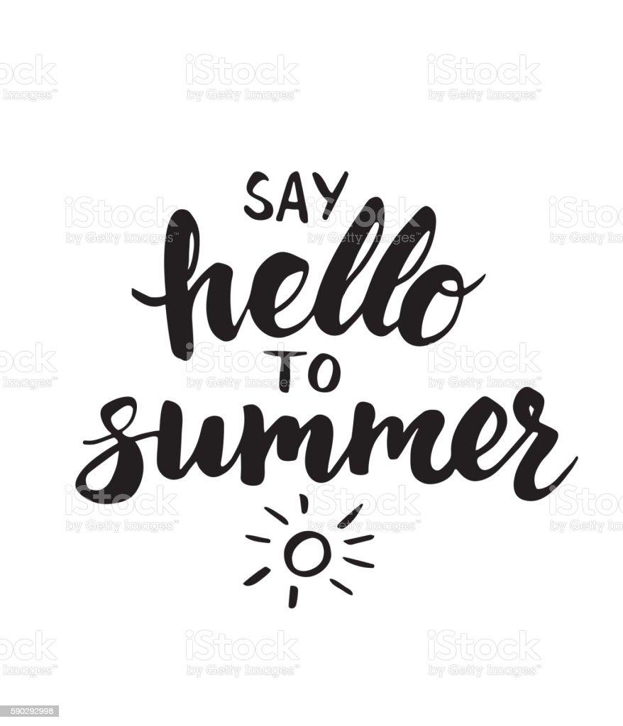 Say hello to summer - card with hand drawn brush royaltyfri say hello to summer card with hand drawn brush-vektorgrafik och fler bilder på affisch
