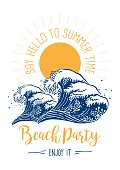 An original artwork vector illustration of a big wave with flower elements and sun. This inspirational design can be a postcard, invitation, poster or flyer.
