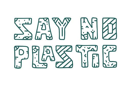 Say no plastic. Pattern doodle lettering