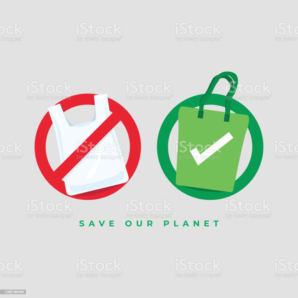 Say no to plastic bags and bring your own textile bag. Save our planet concept. vector art illustration