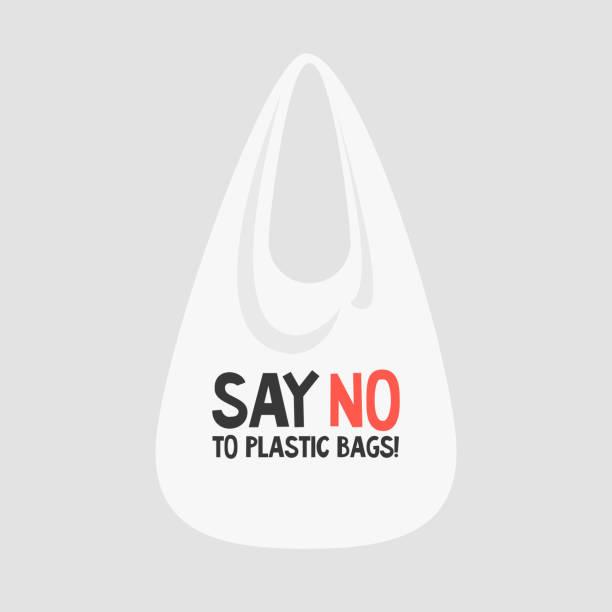 say no to plastic bags. female eco activist holding a globe. ecology conversation. flat editable vector illustration, clip art - ущерб окружающей среде stock illustrations
