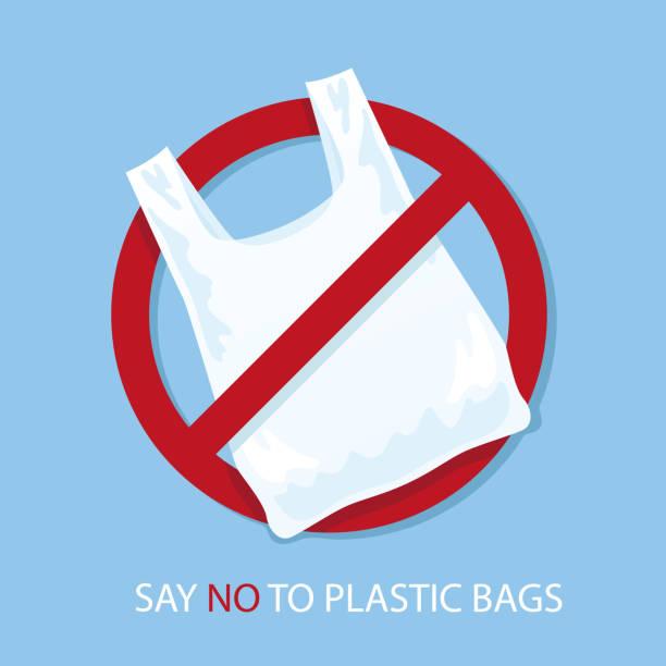 비닐 봉지 포스터에 아무 말. 일회용 셀로판 및 polythene 패키지 금지 기호입니다. 오염 문제 개념입니다. 벡터 일러스트입니다. - 플라스틱 stock illustrations