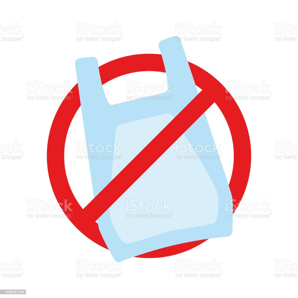 Say no to plastic bags poster. Disposable cellophane and polythene package prohibition sign. Pollution problem concept. Vector illustration. vector art illustration