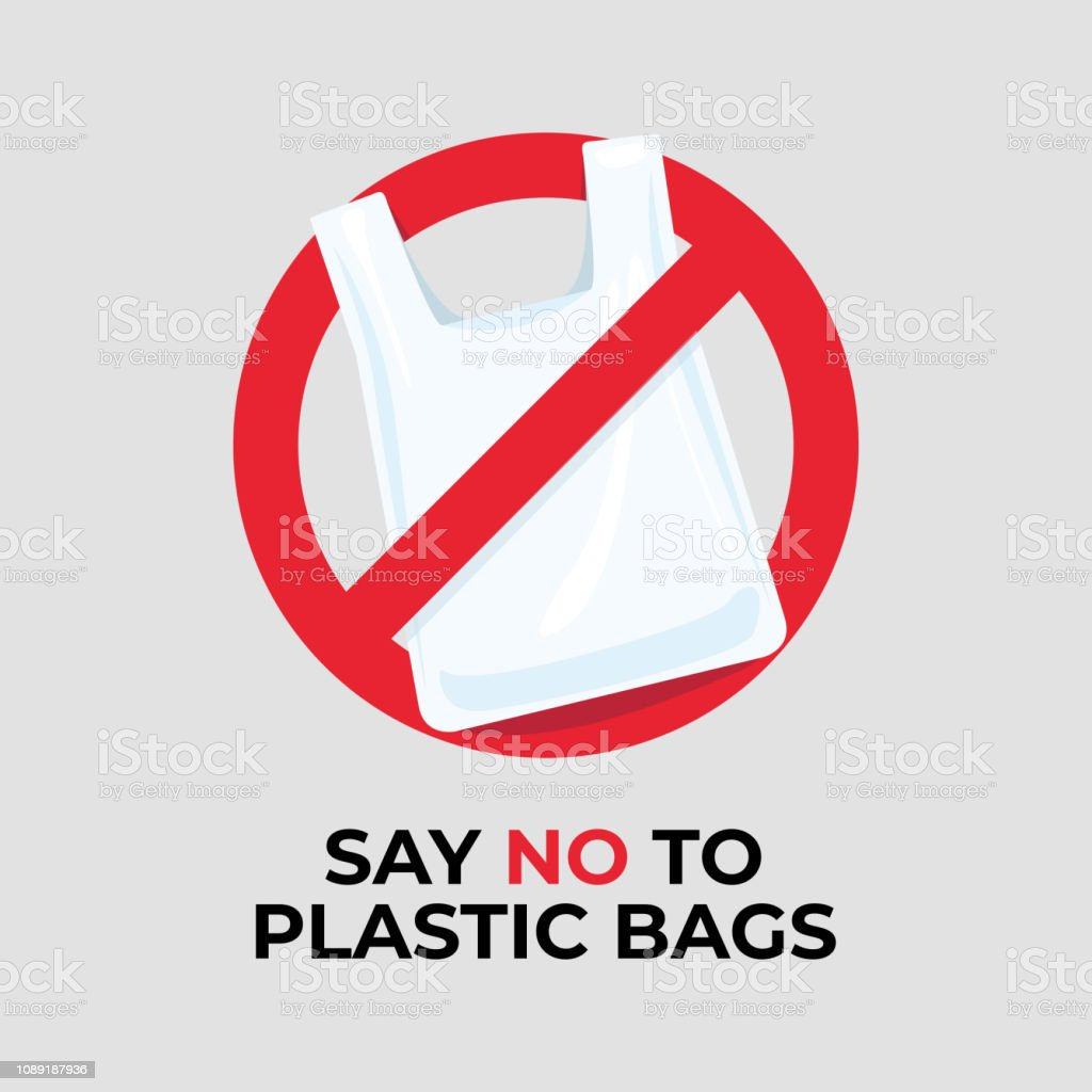 Say no to plastic bags sign. vector art illustration