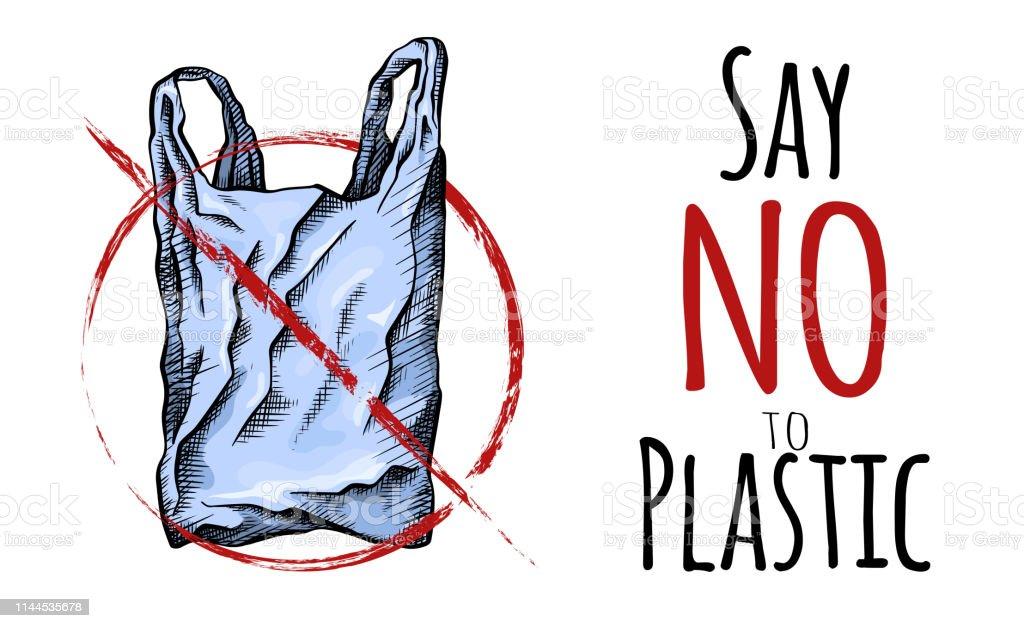 Ilustración De Di No Al Plástico Dibujo De Línea Para