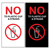 Vector of Say No to Plastic cup and Straws Sign. EPS Ai 10 file format.