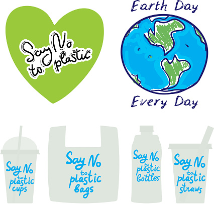 Say no to plastic cups bags bottles straws. Earth day every day. text, calligraphy, lettering, doodle by hand isolated on white background. Pollution problem concept Eco, ecology banner poster. Vector