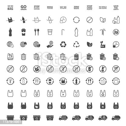 istock say no to plastic icons 1137914951
