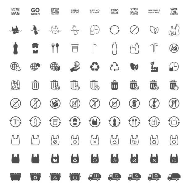 플라스틱 아이콘을 말한다 - 플라스틱 stock illustrations