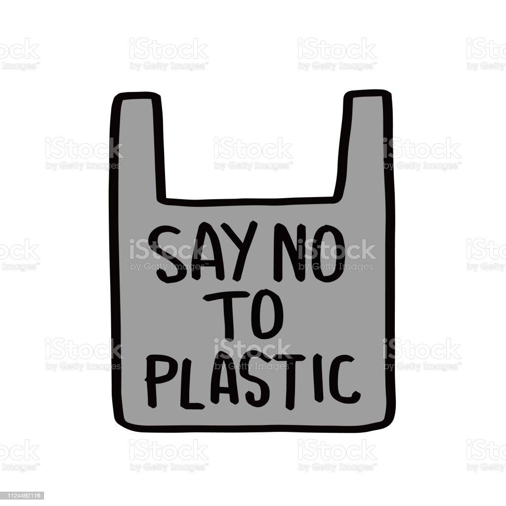 Ilustración De Decir No Al Plástico Frase Motivacional