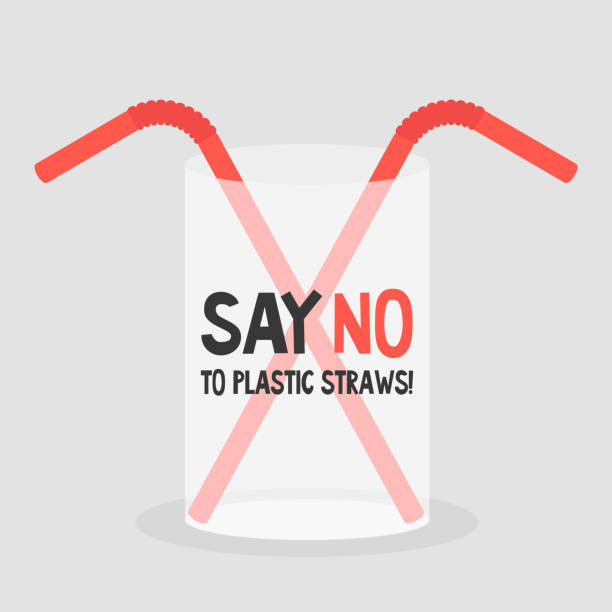 illustrazioni stock, clip art, cartoni animati e icone di tendenza di say no to plastic straws. ecology problems. flat editable vector illustration, clip art - glass world
