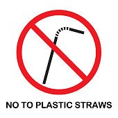 Vector of Say No to Plastic Straws Sign. EPS Ai 10 file format.