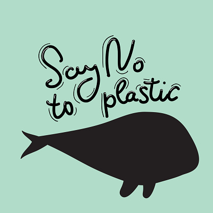 Say no to plastic. Whale, sea, ocean. Black text, calligraphy, lettering, doodle by hand on blue. Pollution problem concept Eco, ecology banner poster. Vector