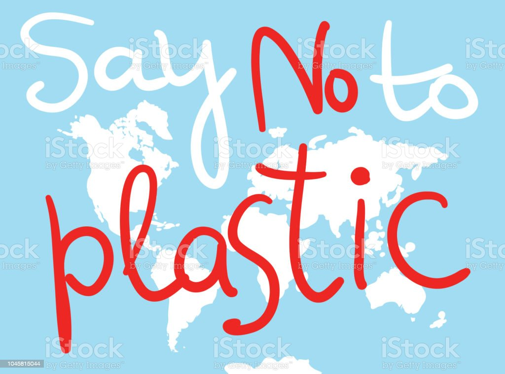 Say No To Plastic World Map White Silhouettes Of Continents On A