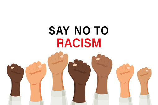Say no to racism quote vector design. Skin color difference handwritten lettering phrase, different skin tones from light to dark and raised arm, fight fist gesture.