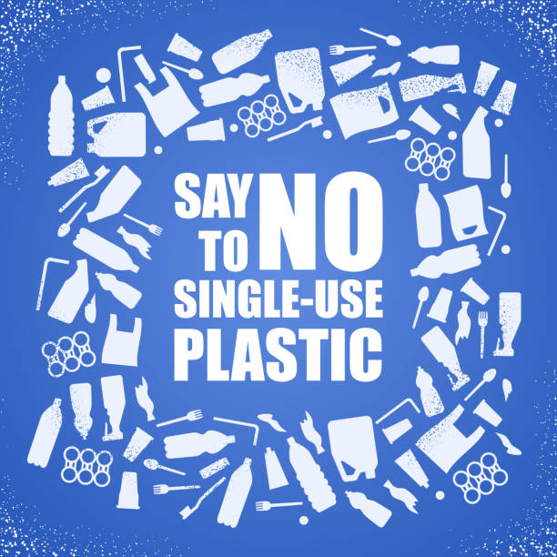 Say no to single-use plastic. Problem plastic pollution. Ecological poster. Banner composed of white plastic waste bag, bottle and text on blue background. Say no to single-use plastic. Problem plastic pollution. Ecological poster. Banner composed of white plastic waste bag, bottle and text on blue background disposable stock illustrations