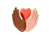 Say no to stop racism, love and peace concept. protest vector background. Human black and white hands hold pink heart, texture effect. Motivational poster against discrimination.