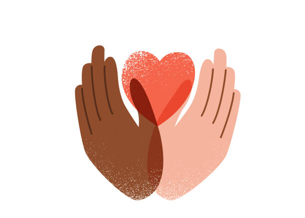 Say no to stop racism, love and peace concept. protest vector background. Human black and white hands hold pink heart, texture effect. Motivational poster against discrimination vector art illustration