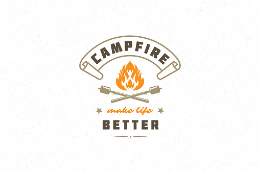 Saying quote typography with hand drawn campfire symbol and marshmallows for greeting cards and posters. Campfire make life better phrase with design elements vector illustration.