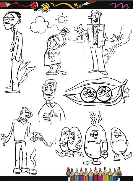 sayings set cartoon coloring page - like two peas in a pod stock illustrations, clip art, cartoons, & icons