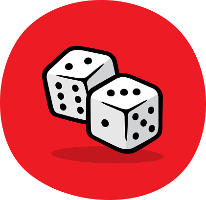 Vector illustration of hand drawn dice against a red background.