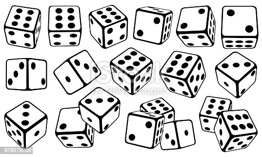 set of dice in different positions
