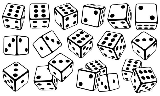 dice set set of dice in different positions rolling stock illustrations