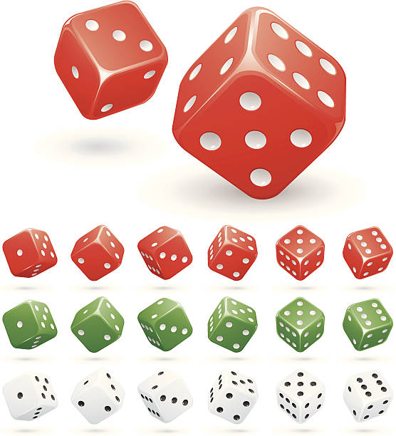 Dice Various rolling dice in red, green and white. rolling stock illustrations