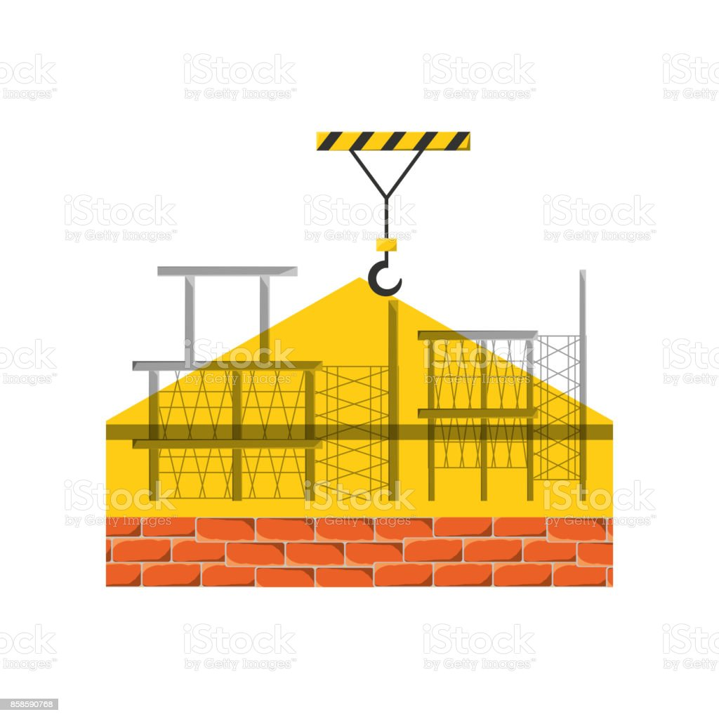 scaffold  and bricks vector illustratio vector art illustration