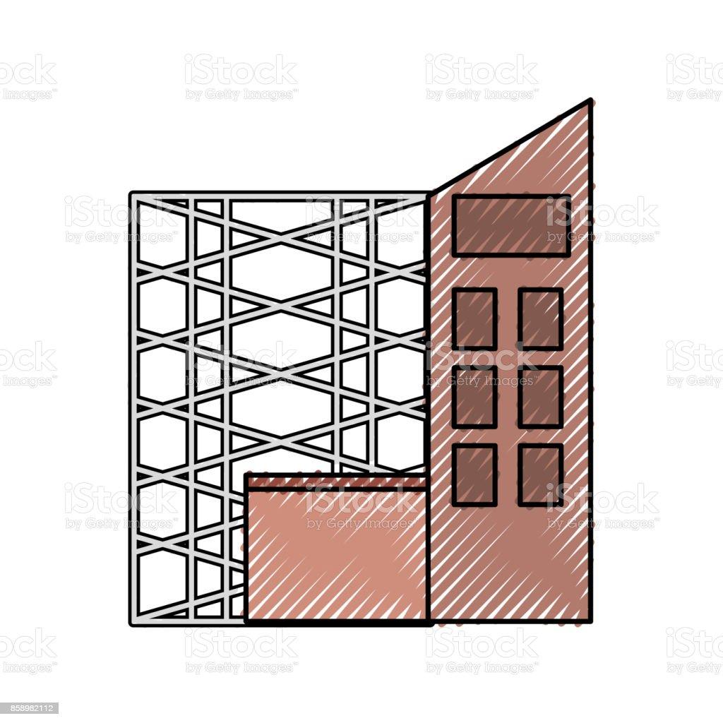 scaffold and building  vector illustratio vector art illustration