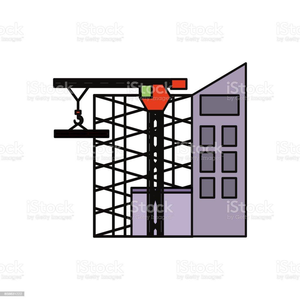 scaffold  and  tower crane  vector illustrat vector art illustration
