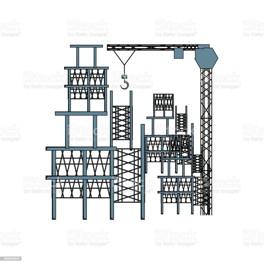 scaffold and tower crane  vector illustratio vector art illustration