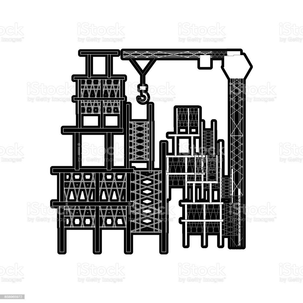 scaffold and tower crane vector illustration vector art illustration