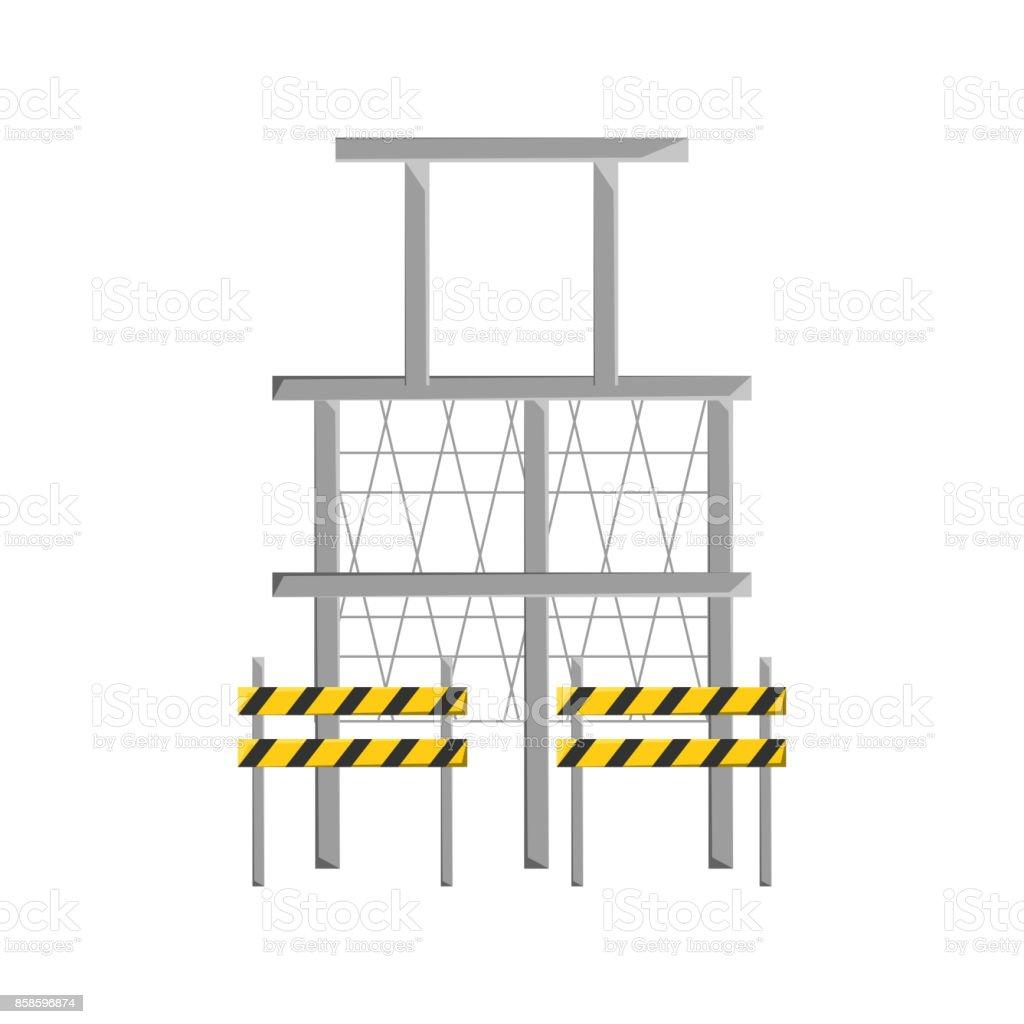 scaffold and trafic barrier  vector illustratio vector art illustration