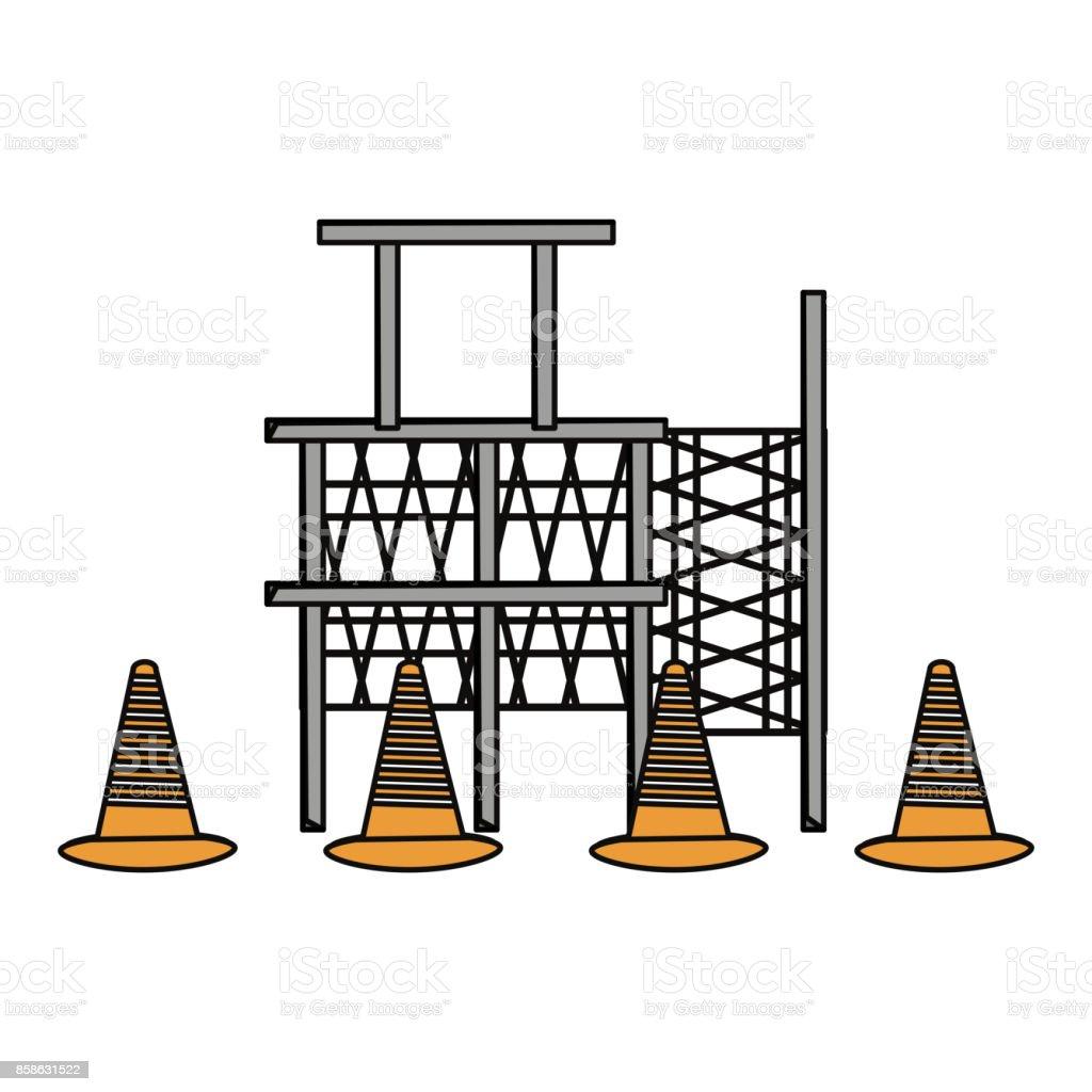 scaffold  and  trafic cone  vector illustrat vector art illustration