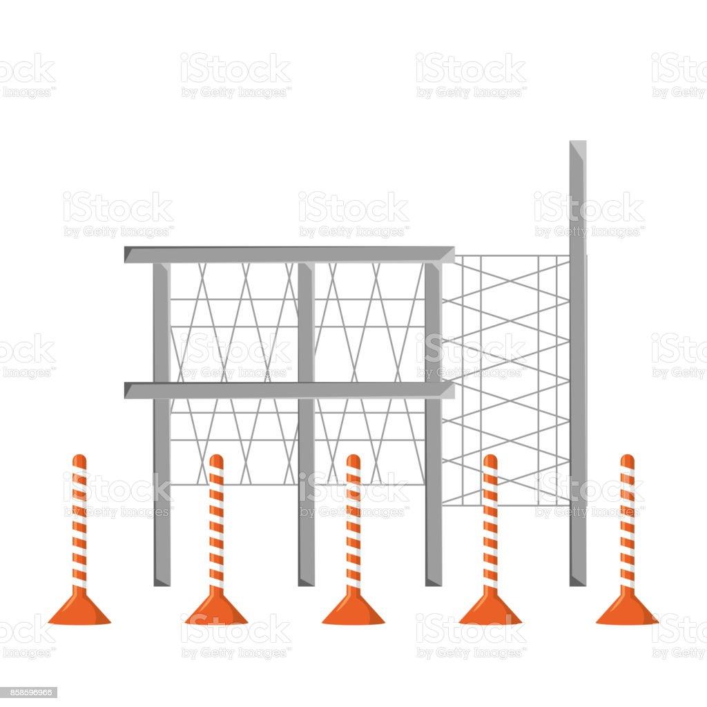 scaffold and  trafic cone  vector illustrati vector art illustration
