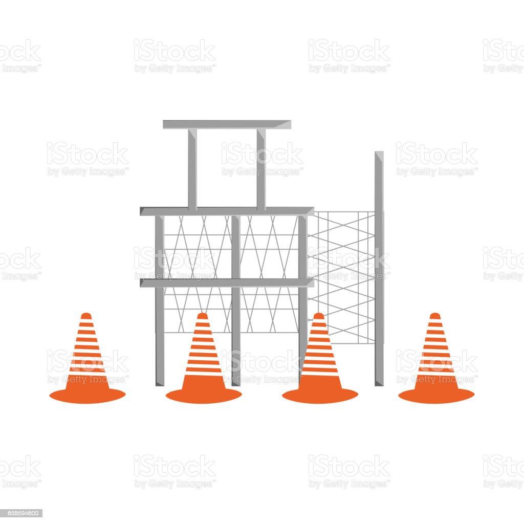 scaffold and trafic cone  vector illustratio vector art illustration