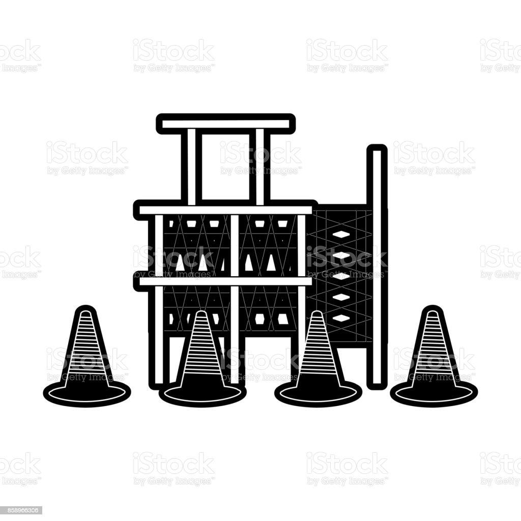 scaffold and trafic cone vector illustration vector art illustration