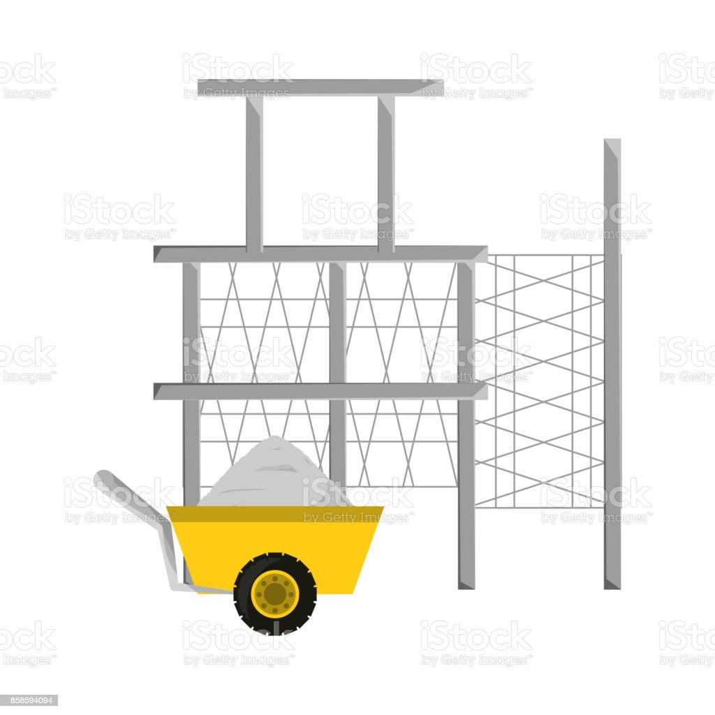 scaffold  and wheelbarrow vector illustratio vector art illustration